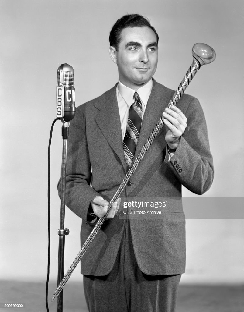 Gold If You Find It, a CBS Radio treasure hunt program. Master of ceremonies James Fleming, poses with glass cane. New York, NY. June 1, 1941.