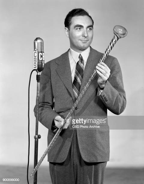 Gold If You Find It a CBS Radio treasure hunt program Master of ceremonies James Fleming poses with glass cane New York NY June 1 1941