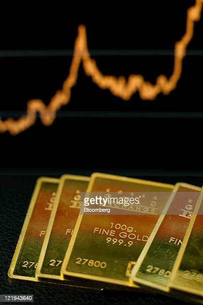 Gold ingots are arranged for a photograph in front of an electronic board showing the price of gold at the Korea Gold Exchange headquarters in Seoul...