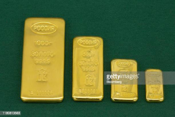 Gold ingots sit on display following manufacture at the JSC Krastsvetmet nonferrous metals plant in Krasnoyarsk Russia on Tuesday Nov 5 2019 Gold...