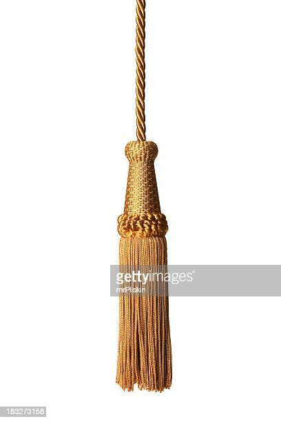 gold isolated tassel - tassel stock pictures, royalty-free photos & images