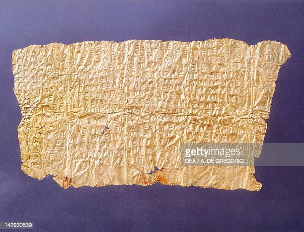Gold leaf tablet inscribed with Orphic text from Inam Necropolis Tomb 19 near Vibo Valentia Calabria Italy Goldsmith art Ancient Greek civilization...