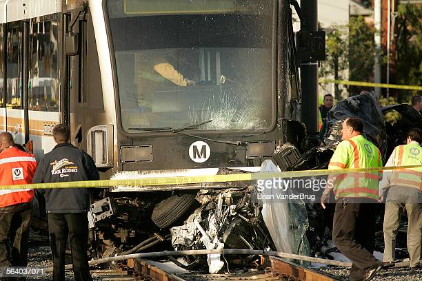 A Gold Line train hit a vehicle in Highland Park Friday morning September 21 2007 during the rush hour injuring six people including the driver of...