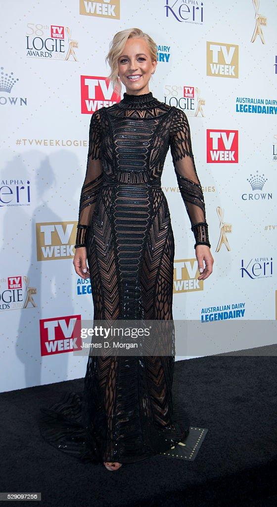 Gold Logie nominee Carrie Bickmore arrives at the 58th Annual Logie Awards at Crown Palladium on May 8, 2016 in Melbourne, Australia.