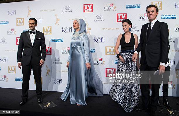 Gold Logie nominee Waleed Aly and his wife Susan Carland ABC TV's Virginia Trioli and Michael Rowland arrive at the 58th Annual Logie Awards at Crown...