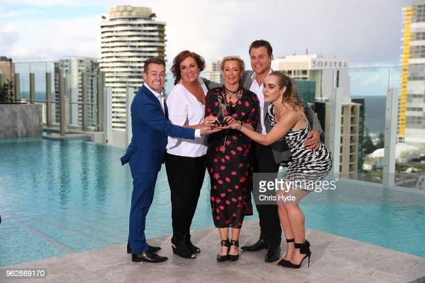 Gold Logie nominees Grant Denyer Tracey Grimshaw Amanda Keller Rodger Corser pose the TV WEEK Logie Awards Nominations Party at The Star on May 27...