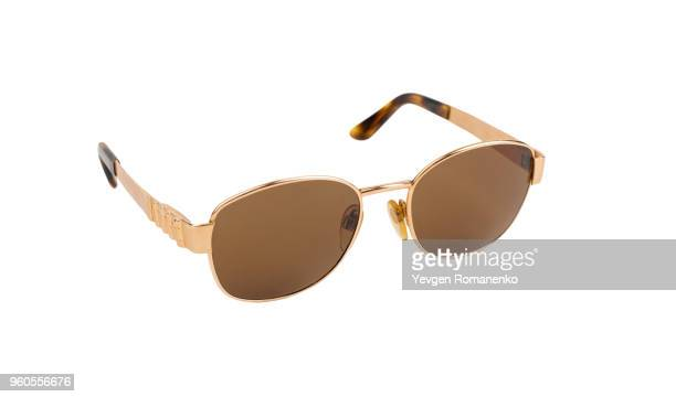 gold luxury sunglasses isolated on white background - golden goggles stock pictures, royalty-free photos & images