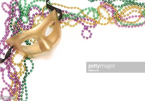 gold mask and beads - mardi gras beads stock photos and pictures