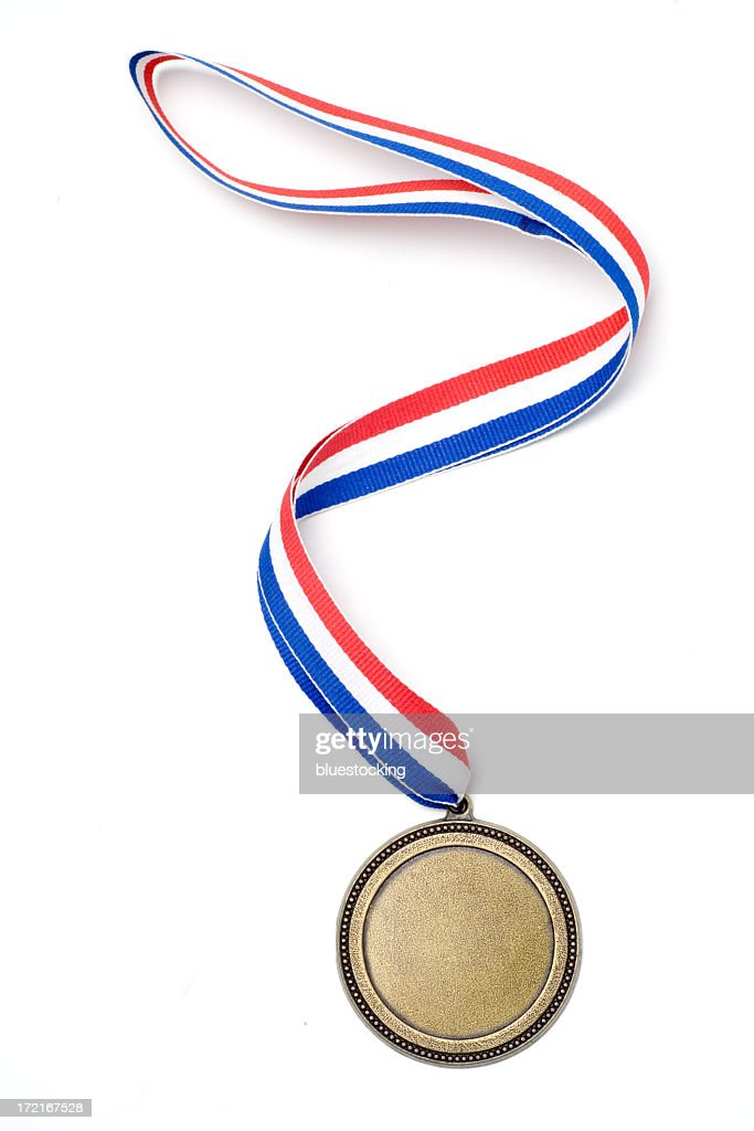 Gold medal award with red, white and blue ribbon : Stock Photo