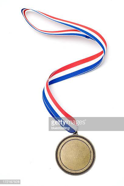 gold medal award with red, white and blue ribbon - blue ribbon stock photos and pictures