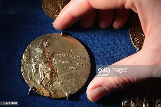 A gold medal from the 1928 Amsterdam Olympic Games won by Australian sculler Bobby Pearce in Bonhams auction house on April 5 2012 in London England...
