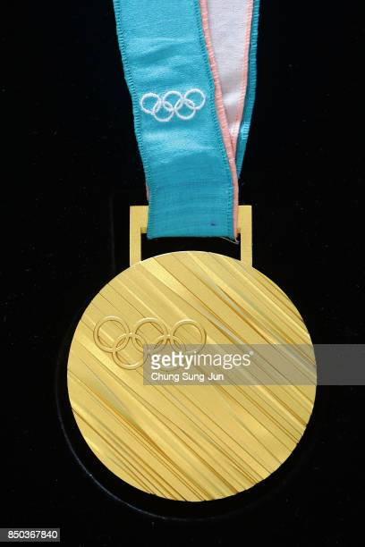 Gold medal on display at PyeongChang 2018 Olympic medal unveiling ceremony at the Seoul Dongdaemun Design Plaza on September 21, 2017 in Seoul, South...