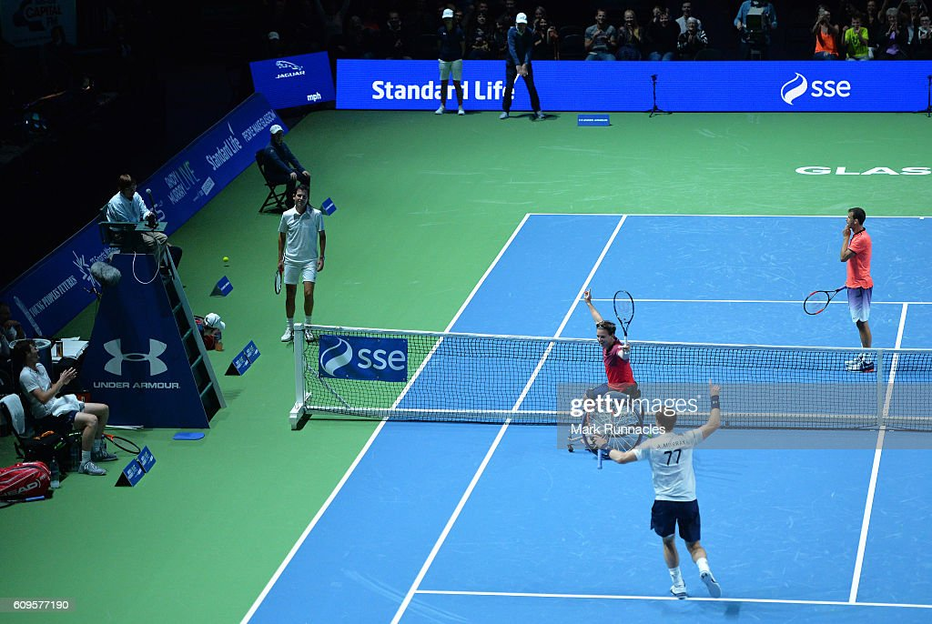 Gold Medal Paralympian Gordon Reid replaces Jamie Murray during the doubles match between Andy Murray and Jamie Murray of Scotland and Tim Henman of England and Grigor Dimitrov of Bulgaria at Andy Murray Live presented by SSE at the SSE Hydro on September 21, 2016 in Glasgow, Scotland.