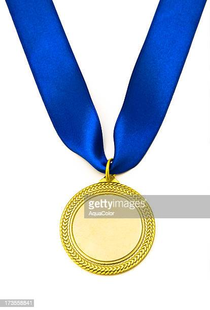 gold medal - blue ribbon stock photos and pictures