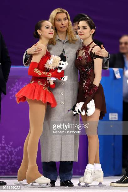 Gold medal winner Alina Zagitova of Olympic Athlete from Russia and silver medal winner Evgenia Medvedeva of Olympic Athlete from Russia celebrate...