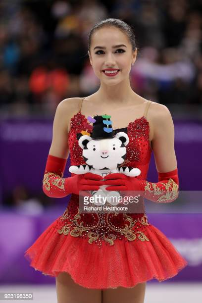 Gold medal winner Alina Zagitova of Olympic Athlete from Russia celebrates during the victory ceremony for the Ladies Single Skating Free Skating on...