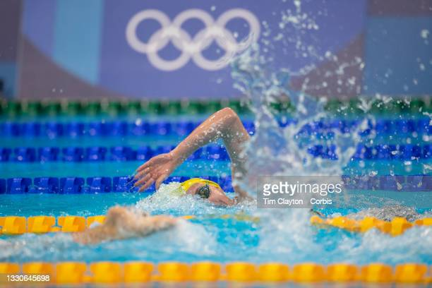 Gold medal winner Ariarne Titmus of Australia, a body length behind, and the foot of Kathleen Ledecky of the United States in the 400m Freestyle for...