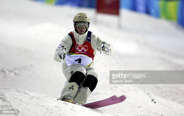 Gold Medal winner Dale BeggSmith Australia competes in the Mens Freestyle Skiing Moguls Final on Day 5 of the 2006 Turin Winter Olympic Games on...