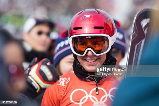 Gold medal winner Ester Ledecka of the Czech Republic after victory during the Ladies' Snowboard Parallel Giant Slalom Final at Phoenix Snow Park on...