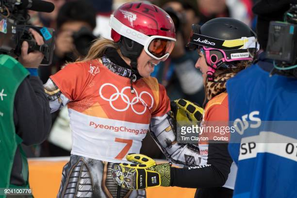 Gold medal winner Ester Ledecka of the Czech Republic celebrates with Bronze medal winner Ramona Theresia Hofmeister from Germany after finishing the...