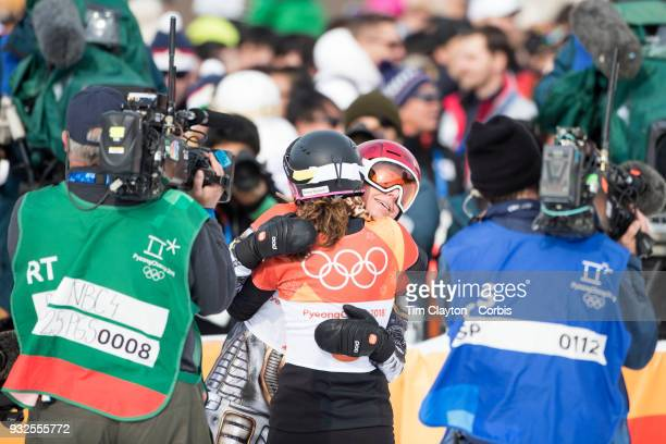 Gold medal winner Ester Ledecka of the Czech Republic congratulates bronze medal winner Ramona Theresia Hofmeister from Germany after the Ladies'...