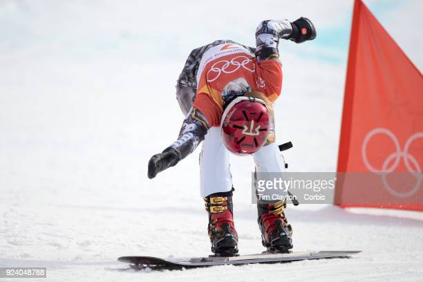 Gold medal winner Ester Ledecka of the Czech Republic crosses the finish line in the final during the Ladies' Snowboard Parallel Giant Slalom...