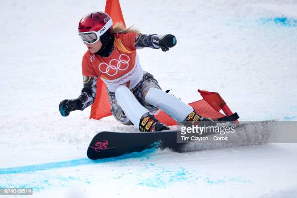 Gold medal winner Ester Ledecka of the Czech Republic in action during the Ladies' Snowboard Parallel Giant Slalom competition at Phoenix Snow Park...