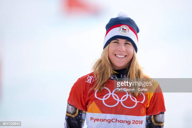 Gold medal winner Ester Ledecka of the Czech Republic on the podium after the Ladies' Snowboard Parallel Giant Slalom competition at Phoenix Snow...