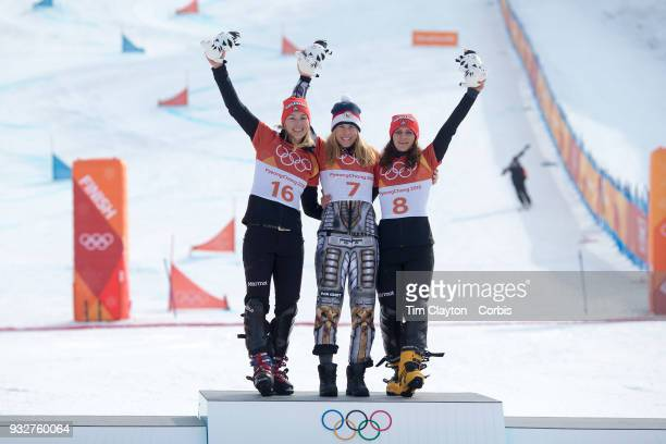 Gold medal winner Ester Ledecka of the Czech Republic with silver medal winner Selina Joerg from Germany and bronze medal winner Ramona Theresia...