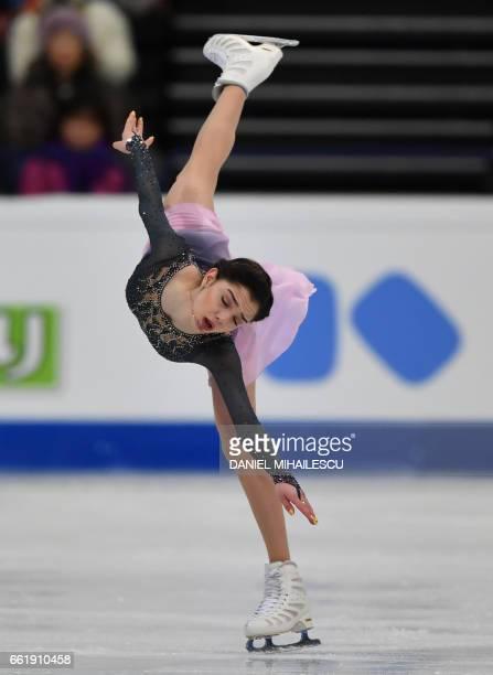 Gold medal winner Evgenia Medvedeva perform during the women's free skating program of ISU World Figure Skating Championships 2017 in Helsinki March...