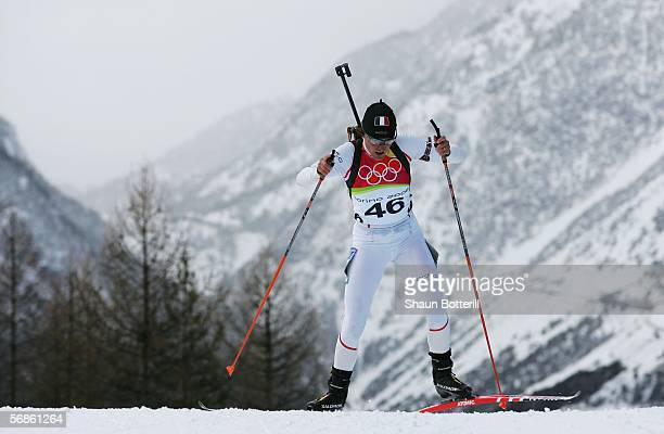 Gold Medal winner Florence BaverelRobert of France competes in the Womens Biathlon 75km Sprint Final on Day 6 of the 2006 Turin Winter Olympic Games...
