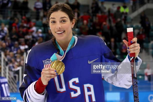 Gold medal winner Hilary Knight of the United States celebrates after defeating Canada in a shootout in the Women's Gold Medal Game on day thirteen...