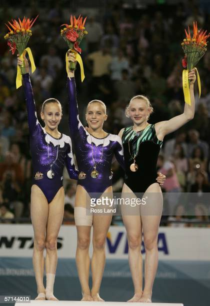 Gold medal winner Hollie Dykes of Australia poses with fellow medalists Ashleigh Brennan of Australia and Francki van Rooyen of South Africa after...