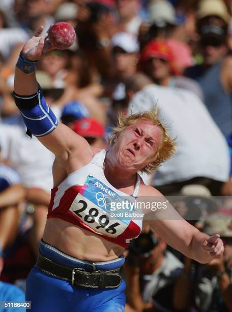 Gold medal winner Irina Korzhanenko of Russia makes a throw in the women's shot put final on August 18 2004 during the Athens 2004 Summer Olympic...