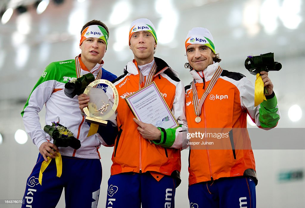 Gold medal winner Jorrit Bergsma (C) of the Netherlands poses with fellow Dutchmen Sven Kramer (L), silver, and Bob de Jong, bronze, on the podium after the 10000m race on day three of the Essent ISU World Single Distances Speed Skating Championships at the Adler Arena Skating Center on March 23, 2013 in Sochi, Russia.