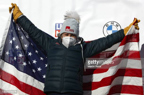 Gold Medal winner, Kaillie Humphries of the United States celebrates on the podium after winning the Women's Monobob at the IBSF World Championships...