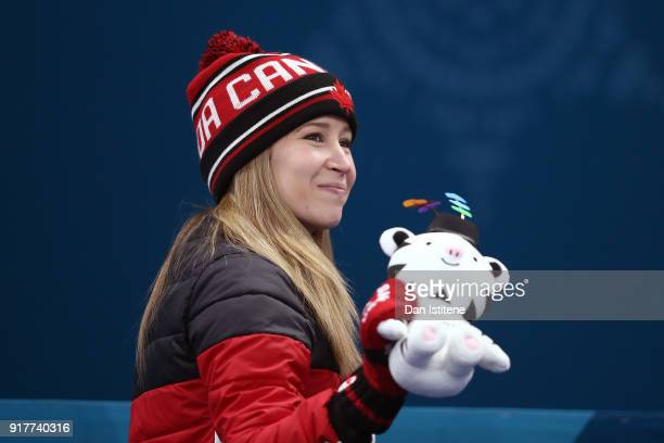 Gold medal winner Kaitlyn Lawes of Canada celebrates during the victory ceremony after Curling Mixed Doubles Gold Medal Game on day four of the...