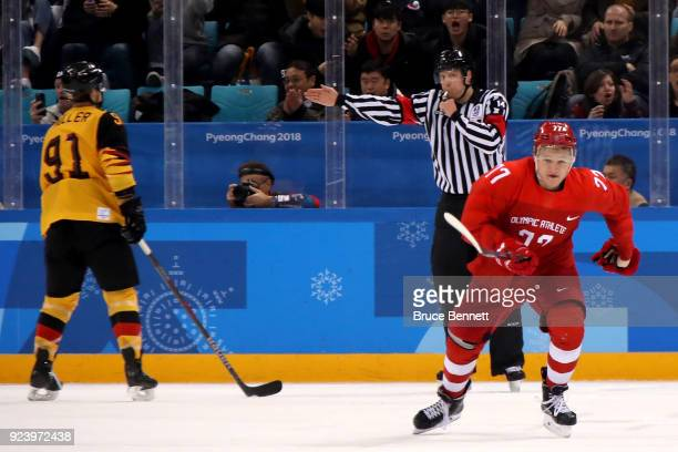 Gold medal winner Kirill Kaprizov of Olympic Athlete from Russia celebrates after scoring a goal in overtime to defeat Germany 4-3 during the Men's...