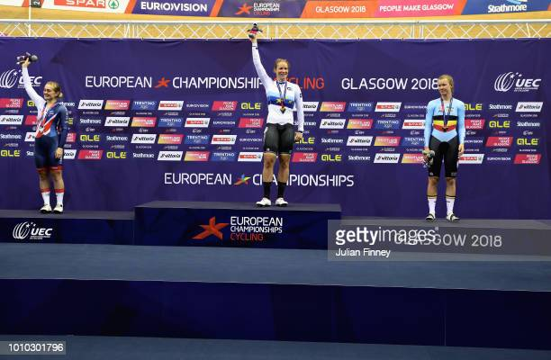 Gold medal winner Kirsten Wild of Netherlands, silver medal winner Emily Kay of Great Britain and bronze medal winner Jolien D'Hoore of Belgium...