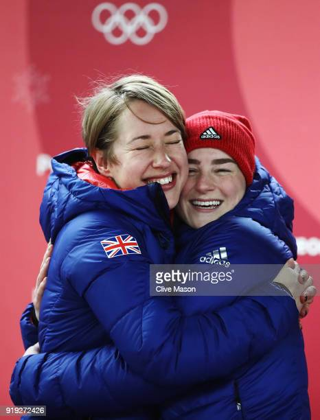 Gold medal winner Lizzy Yarnold of Great Britain and bronze medalist Laura Deas of Great Britain celebrate following the Women's Skeleton on day...