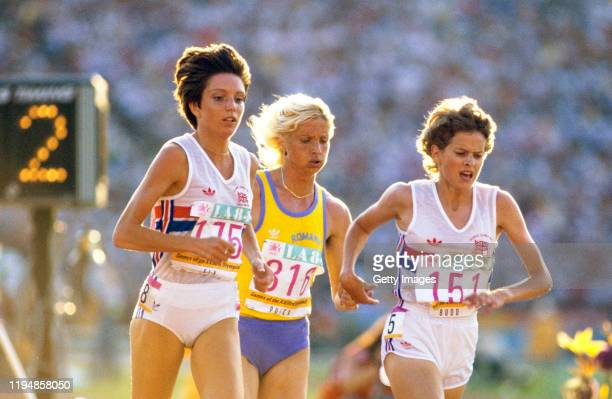 Gold Medal Winner Maricica Puica ROM Zola Budd GBR and Wendy Sly GBR in action during the final of the 1984 Olympic Women's 3000 metres at the...