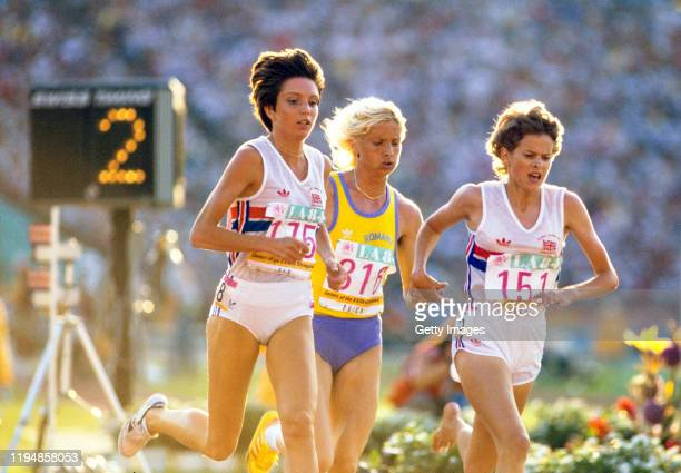 Gold Medal Winner Maricica Puica ROM, Zola Budd GBR and Wendy Sly GBR in action during the final of the 1984 Olympic Women's 3000 metres at the...