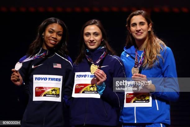 Gold Medal Winner Mariya Lasitskene of Authorised Neutral Athlete Bronze Medal Winner Alessia Trost of Italy and Bronze Medal Winner Vashti...