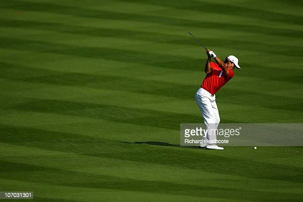 Gold Medal winner Meen Whee Kim of South Korea in action during the final round of the Men's golf competition at Dragon Lake Golf Club during day...
