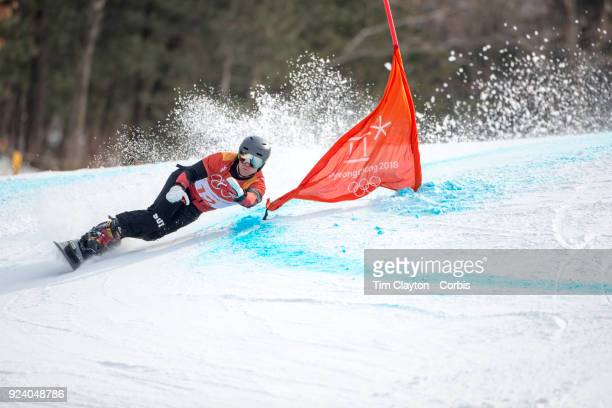 Gold medal winner Nevin Galmarini of Switzerland in action during the Men's Snowboard Parallel Giant Slalom competition at Phoenix Snow Park on...