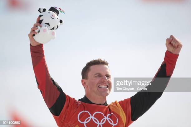 Gold medal winner Nevin Galmarini of Switzerland on the podium after the final of the Men's Snowboard Parallel Giant Slalom competition at Phoenix...