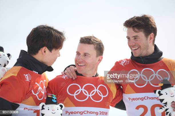Gold medal winner Nevin Galmarini of Switzerland with silver meal winner Sangho Lee of Korea and bronze winner Zan Kosir from Slovenia after the...