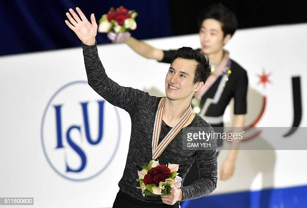 Gold medal winner Patrick Chan of Canada waves after winning the Men's Free Skating during the ISU Four Continents Figure Skating Championships in...