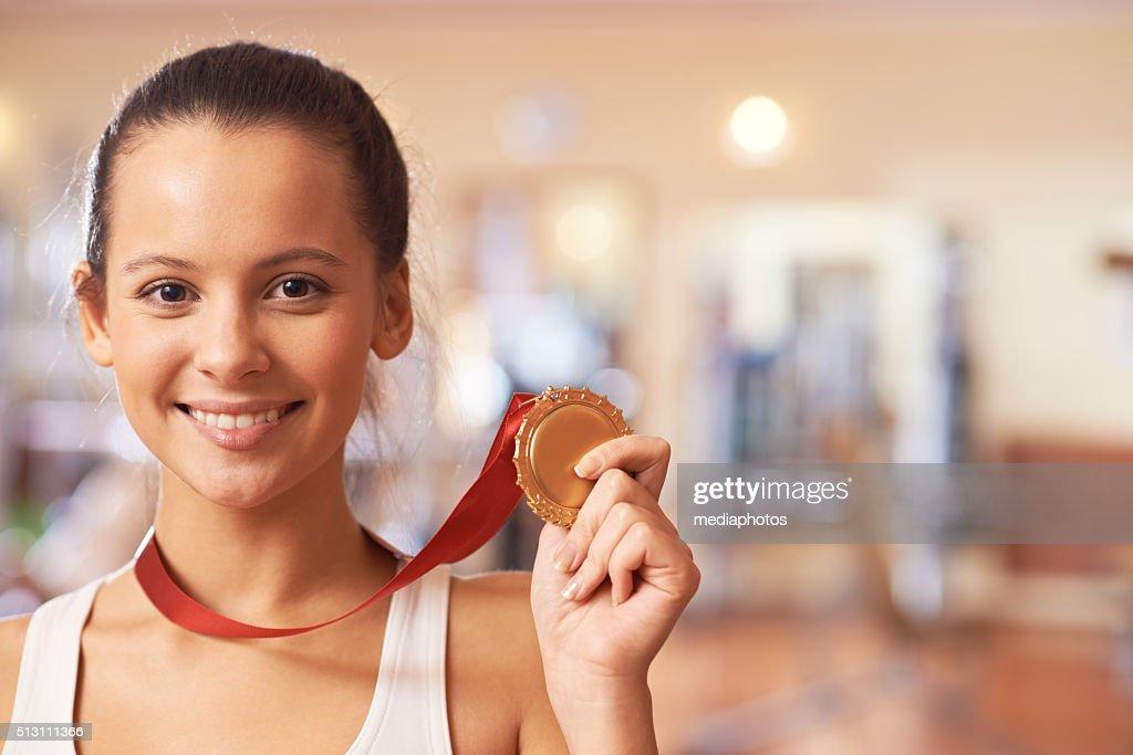Gold medal winner : Stock Photo