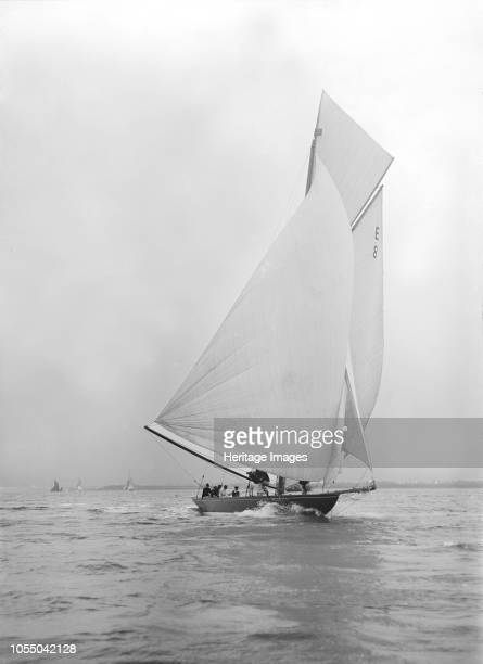 Gold medal winner 'Rollo' races downwind under spinnaker 1911 Johan Anker the designer of Rollo helmed the yacht for the 1911 Coronation Regatta in...